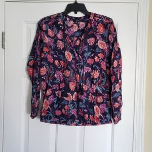 Lucky Brand tassle floral blouse size S